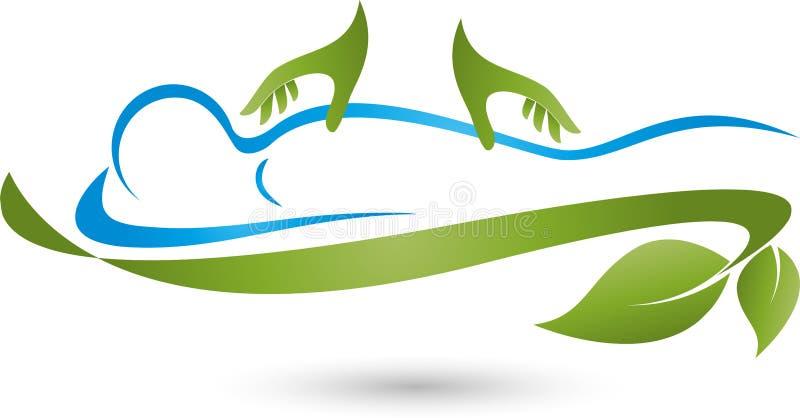 Pessoa e duas mãos, massagem e logotipo naturopathic ilustração do vetor