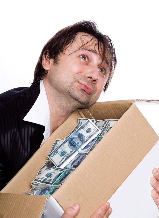 A pessoa e o dinheiro fotografia de stock