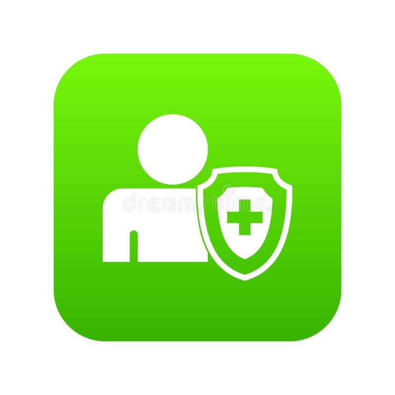 A pessoa e a proteção transversal médica protegem o verde digital do ícone ilustração royalty free