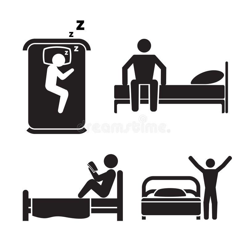 Pessoa em ícones da cama Sinais do sono do hotel ilustração stock