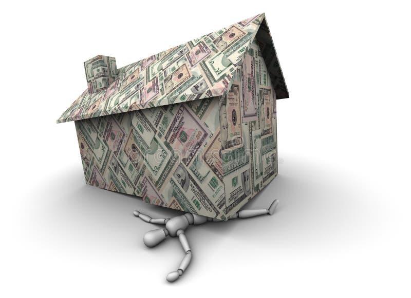 Pessoa Esmagada Sob A Casa Feita Do Dinheiro Imagens de Stock Royalty Free