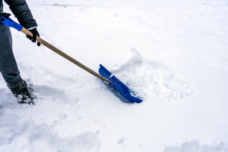 A pessoa está usando uma pá/pá azul de neve removendo a neve profunda durante o tempo de neve imagens de stock royalty free
