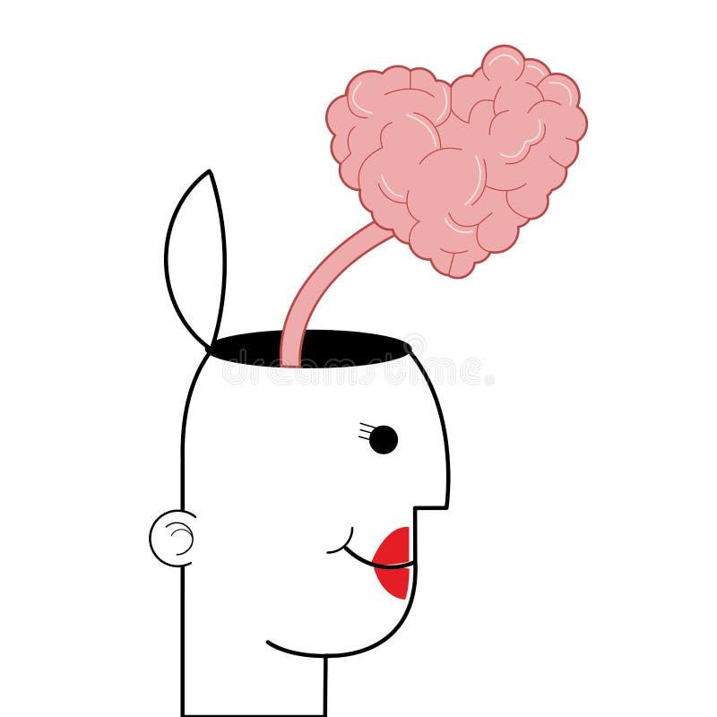 a pessoa fêmea com principal aberto e coração deu forma ao cérebro que vem para fora ícone ilustração stock