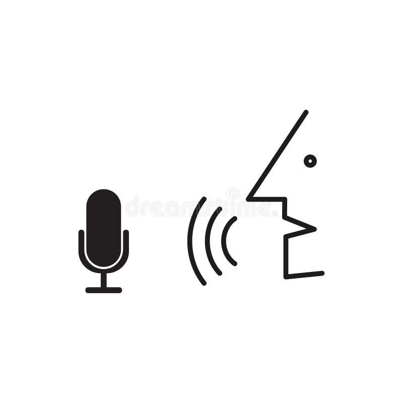 A pessoa fala no microfone Processo do reconhecimento de voz ilustração stock