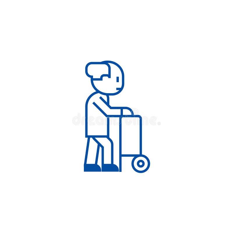 Pessoa idosa com rodas da ajuda para alinhar o conceito do ícone Pessoa idosa com símbolo liso do vetor das rodas da ajuda, sinal ilustração do vetor