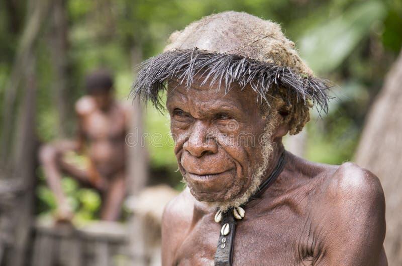 Pessoa idosa do tribo de Dani em uma vila imagens de stock