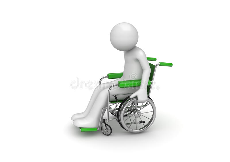 Pessoa incapacitada em uma cadeira rodada ilustração royalty free