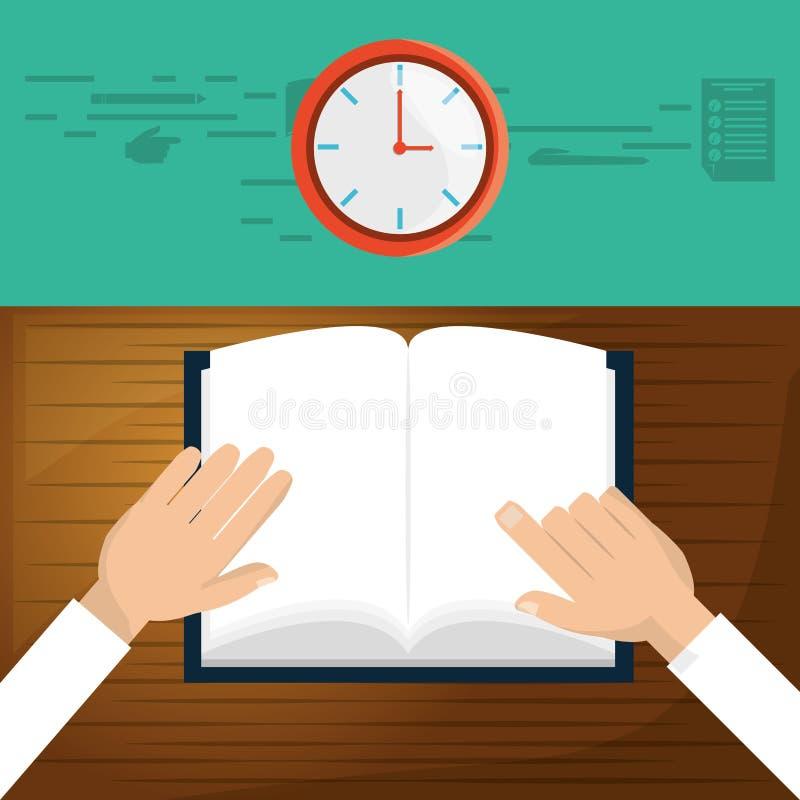 Pessoa a ler o livro no tempo da classe ilustração royalty free