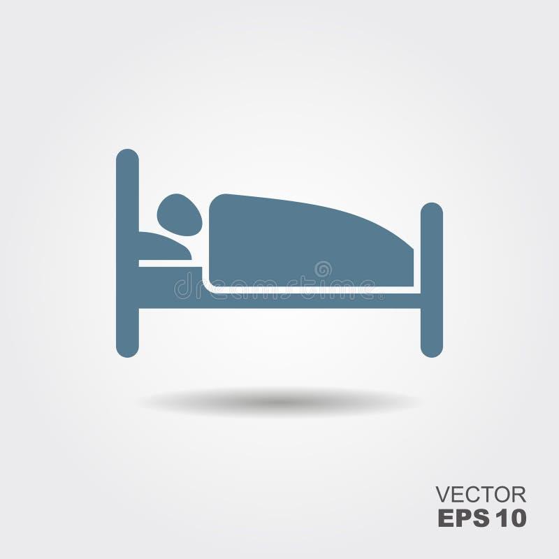 Pessoa na cama Ícone liso do hotel ilustração stock