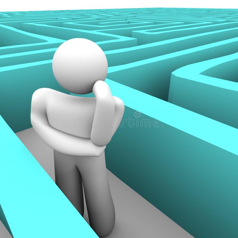 Pessoa no labirinto azul que pensa da maneira para fora ilustração stock