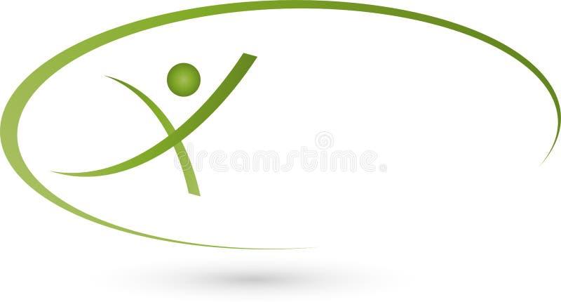 Pessoa no logotipo do movimento, do esporte e da aptidão ilustração royalty free