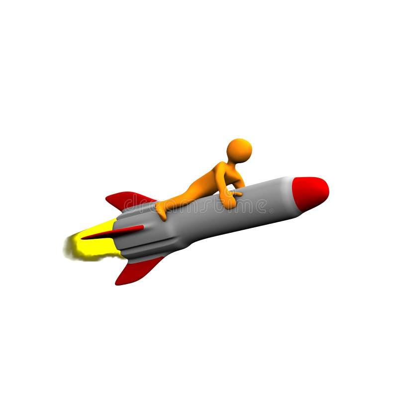 Pessoa no míssil ou no foguete ilustração royalty free