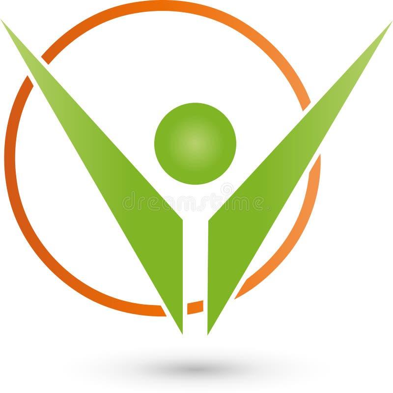 Pessoa no movimento, logotipo colorida, do esporte e da aptidão ilustração stock