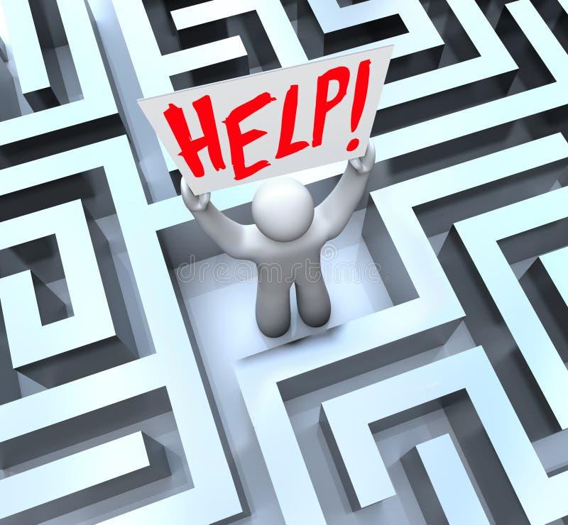 Pessoa no sinal da ajuda da terra arrendada do labirinto do labirinto