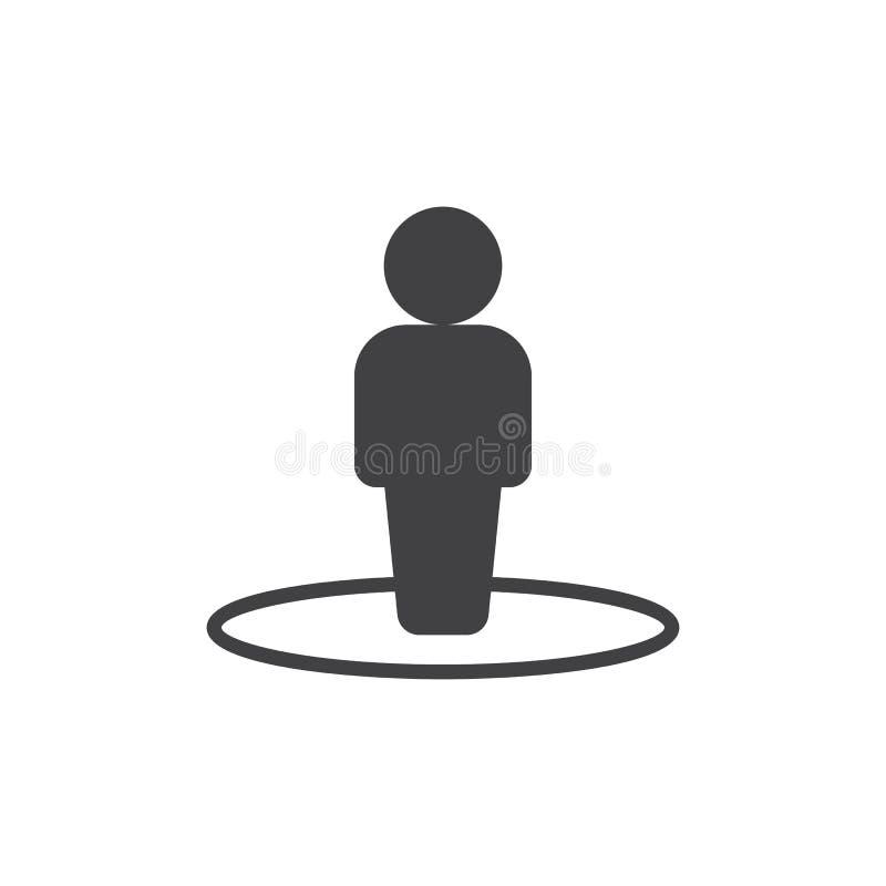 Pessoa no vetor do ícone do círculo ilustração stock