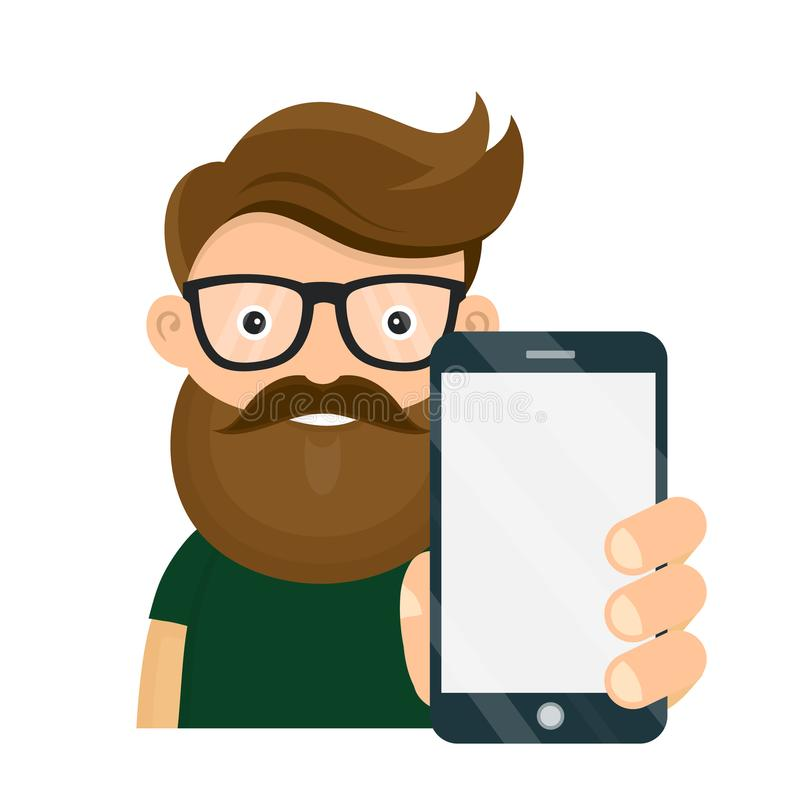 Pessoa nova do moderno que guarda o smartphone ilustração royalty free