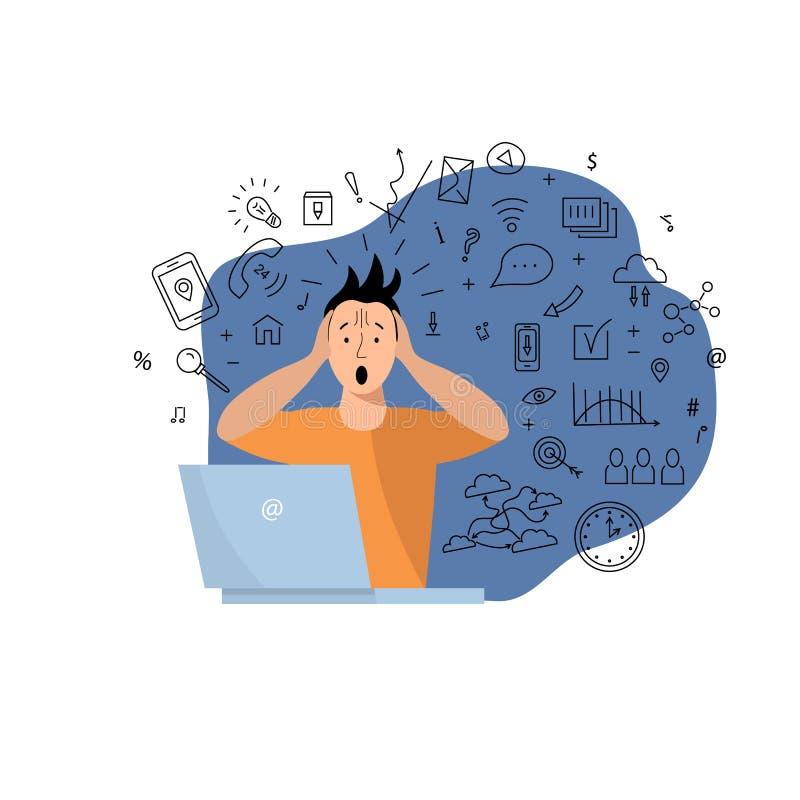 A pessoa obtém demasiada informação ilustração stock