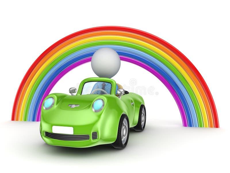 Pessoa pequena em um carro e em um arco-íris. ilustração stock