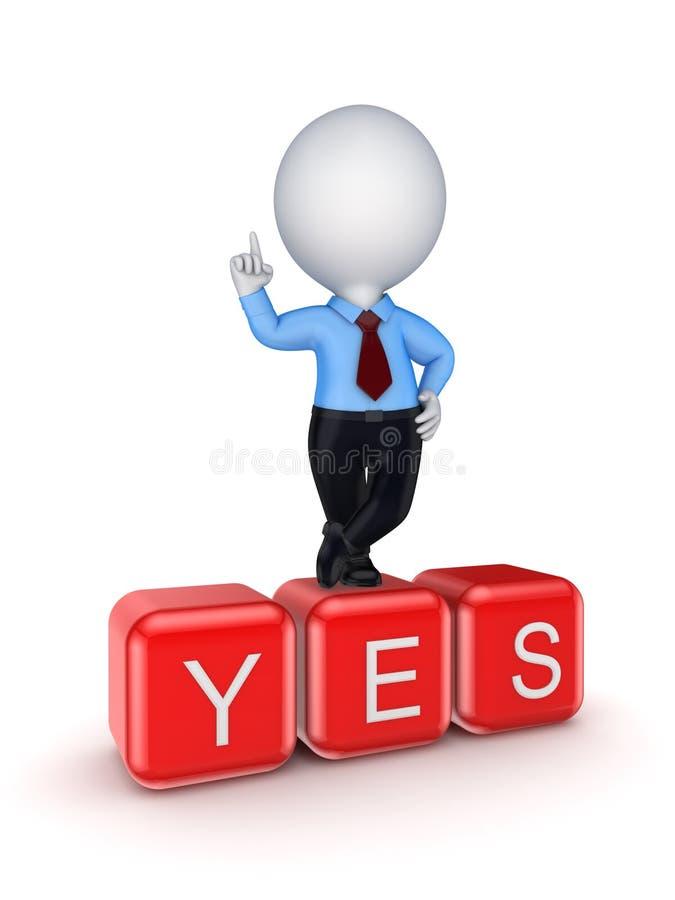 Pessoa pequena que está na palavra YES. ilustração royalty free