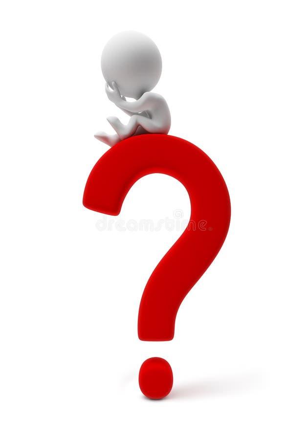 pessoa-pergunta 3d pequena ilustração do vetor
