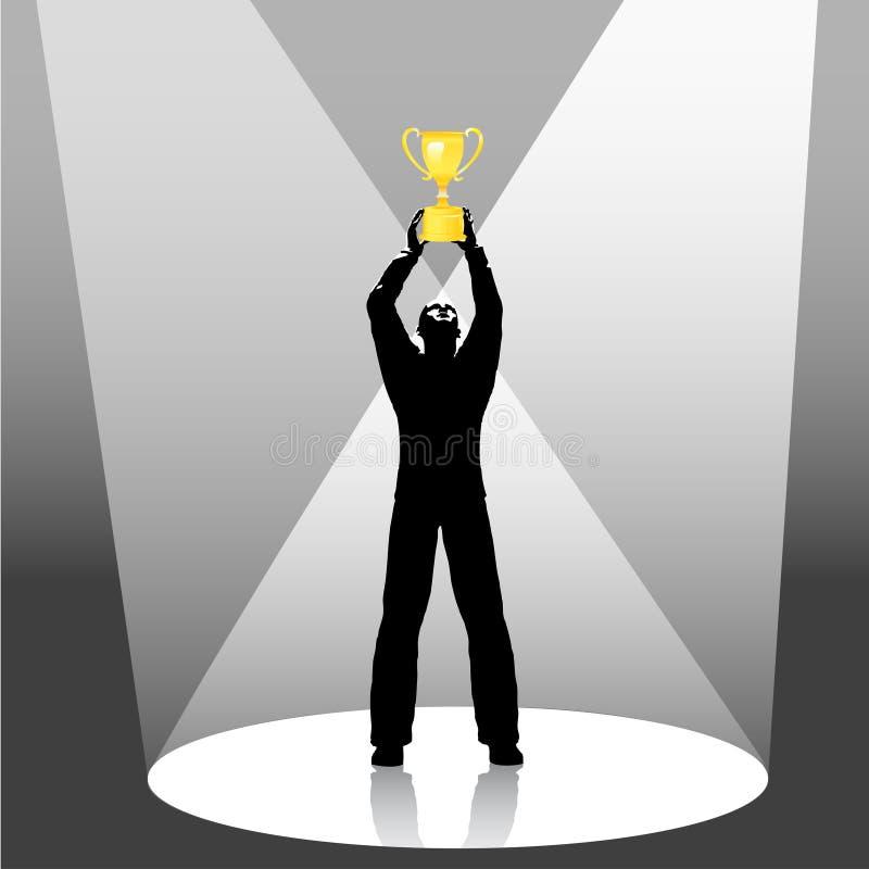 A pessoa prende o projector do troféu ilustração do vetor