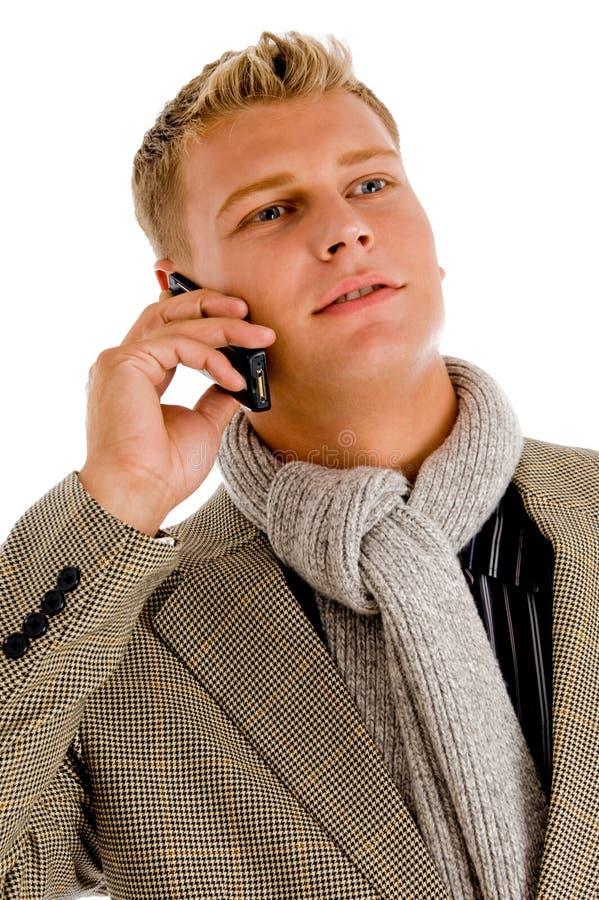 Pessoa profissional ocupada no atendimento de telefone foto de stock