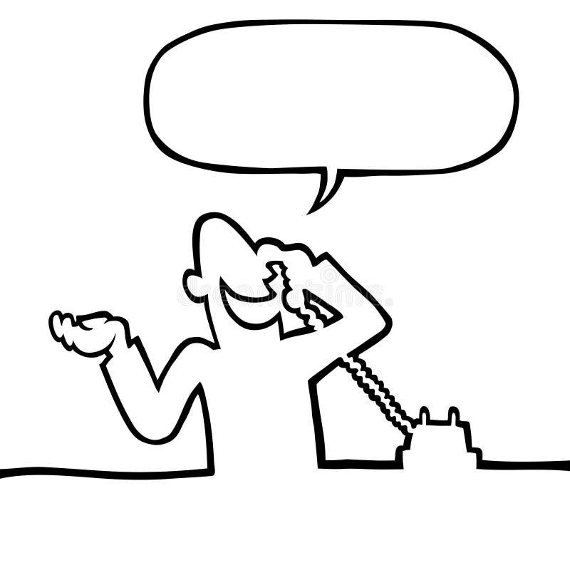 Pessoa que convida o telefone ilustração stock