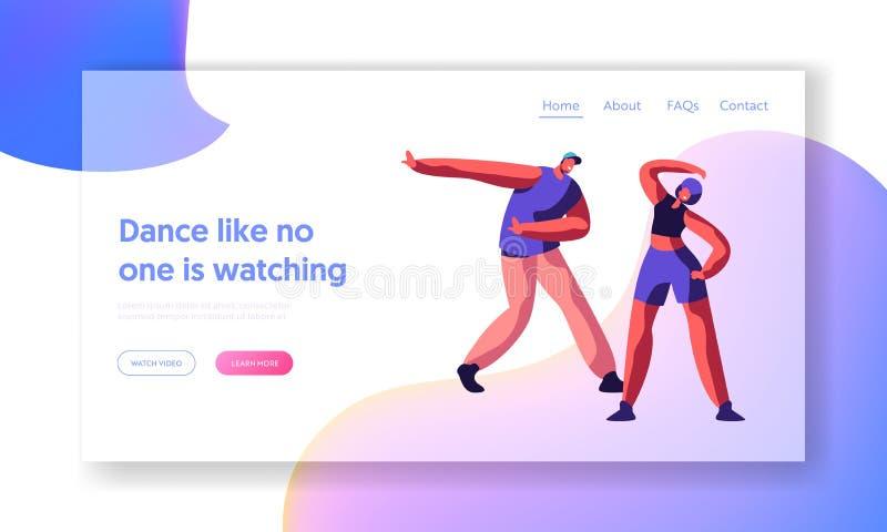 Pessoa que dança a página da aterrissagem do partido do estilo livre de Breakdance Os povos do adolescente da juventude mostram a ilustração do vetor