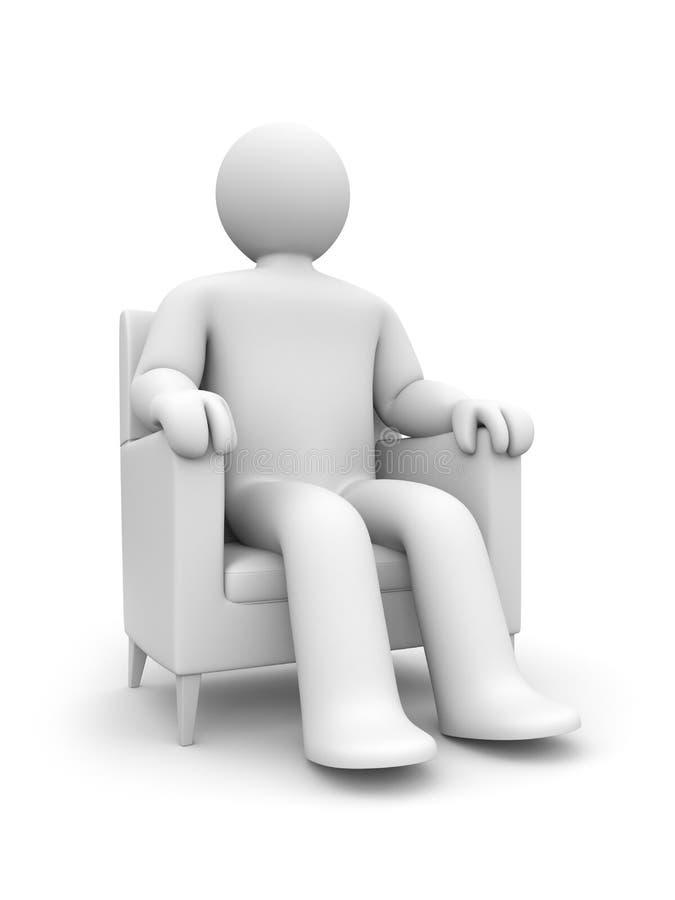 Pessoa que descansa na poltrona. Pode ser a película do olhar ilustração royalty free