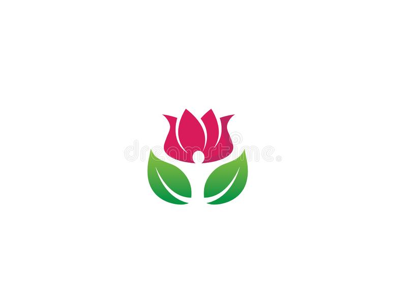 A pessoa que do bem-estar as mãos acima com folhas dirigem na flor aumentou para o vetor do logotipo ilustração royalty free
