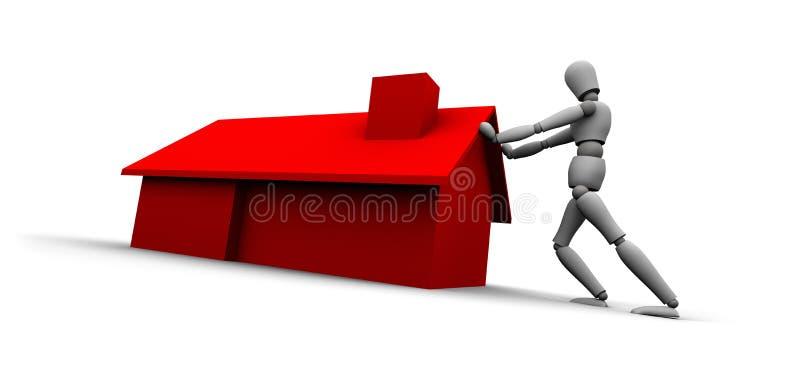 Pessoa que empurra a casa vermelha ilustração royalty free