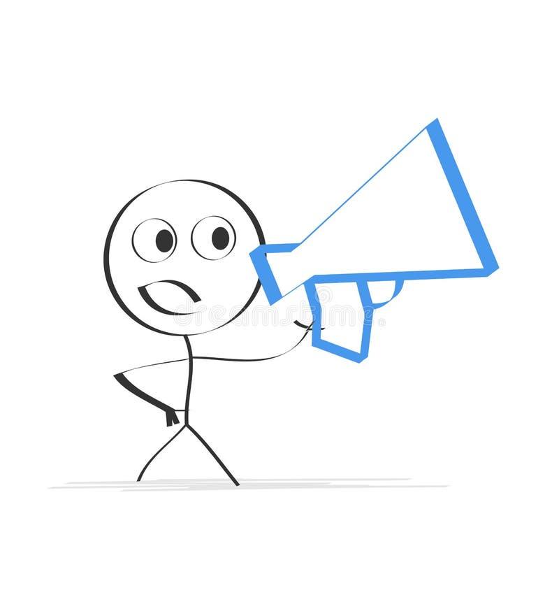 Pessoa que fala com um megafone ilustração royalty free