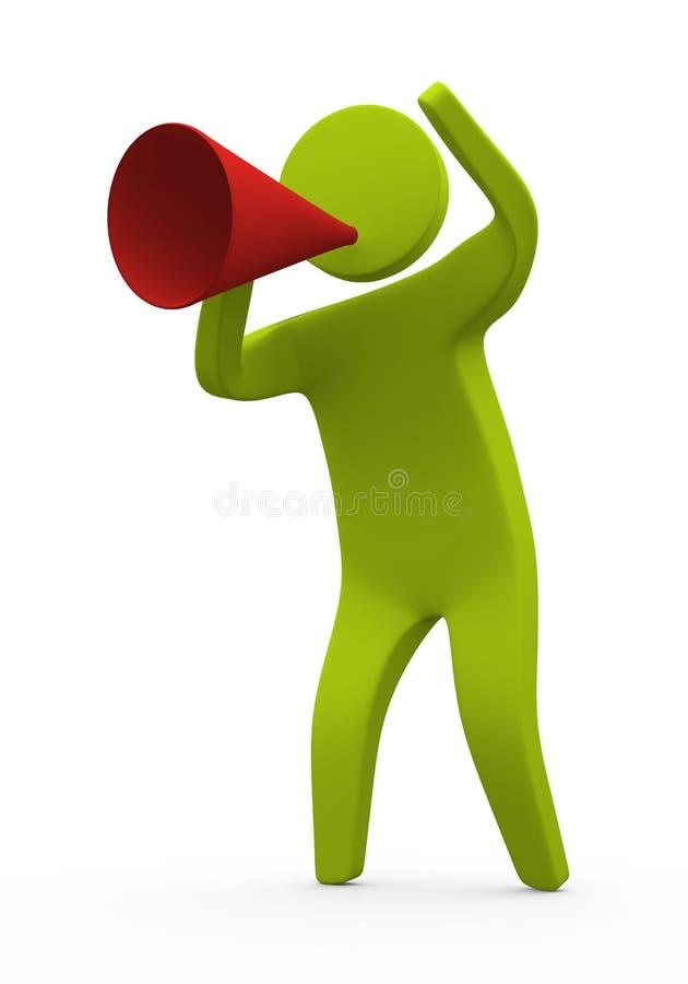 Pessoa que fala usando o megafone ilustração do vetor