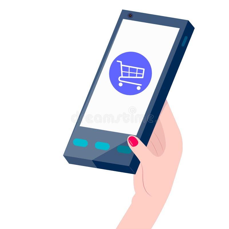 Pessoa que faz a compra em linha, mão que guarda um telefone com sinal de compra ilustração stock