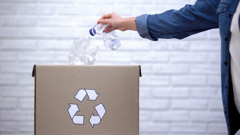 Pessoa que joga garrafas plásticas no escaninho de lixo, classificando o desperdício não-degradable fotos de stock