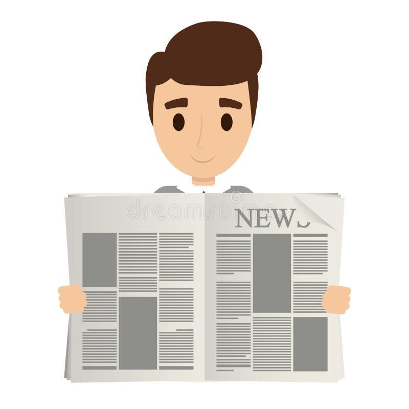 Pessoa que lê o jornal ilustração do vetor