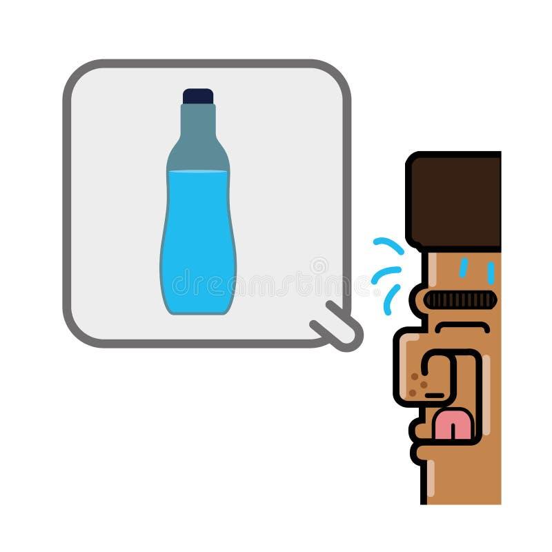 Pessoa que pensa na garrafa de água ilustração royalty free