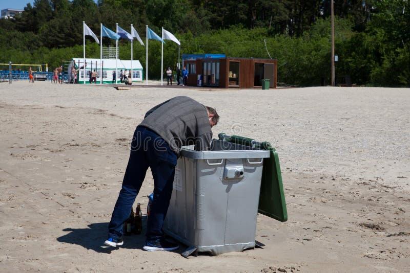 Pessoa que procura as garrafas de vidro no escaninho de lixo foto de stock royalty free