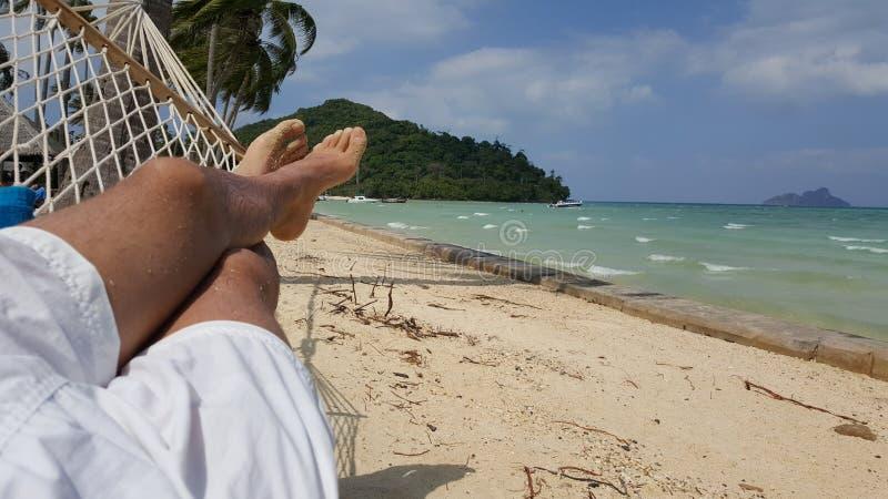 Pessoa que relaxa em uma rede fotos de stock royalty free