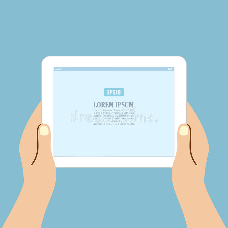 Pessoa que usa o tablet pc ilustração royalty free