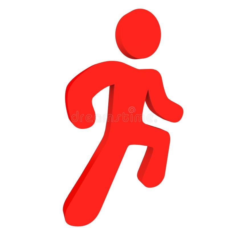 Pessoa Running vermelha ilustração stock