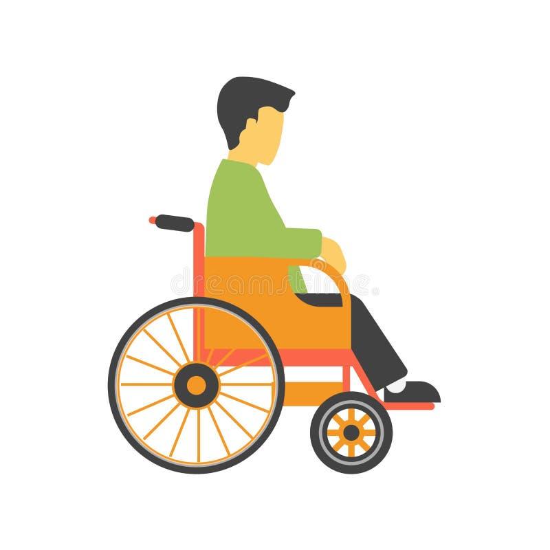 Pessoa sem cara desqualificada na cadeira de rodas isolada no vetor branco do fundo ilustração royalty free