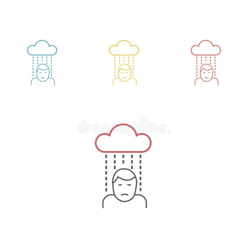 Pessoa triste deprimida Linha ícone Ilustração lisa dos desenhos animados do vetor ilustração do vetor