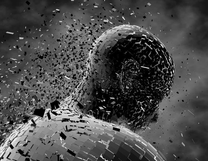 Pessoa triste, deprimida, pensativa, pensamentos negativos com figura quebrada do homem ilustração stock