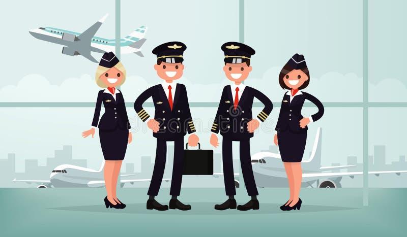 Pessoais dos aviões O grupo do avião civil nos bu do aeroporto ilustração stock