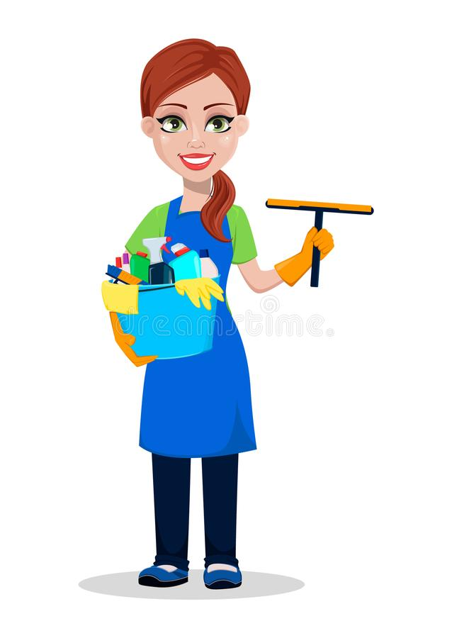 Pessoal da empresa da limpeza no uniforme ilustração royalty free