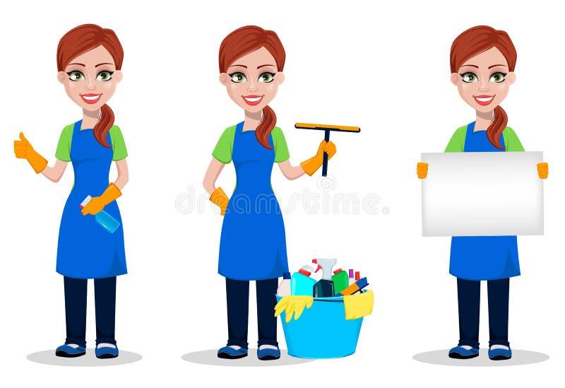 Pessoal da empresa da limpeza no uniforme ilustração do vetor
