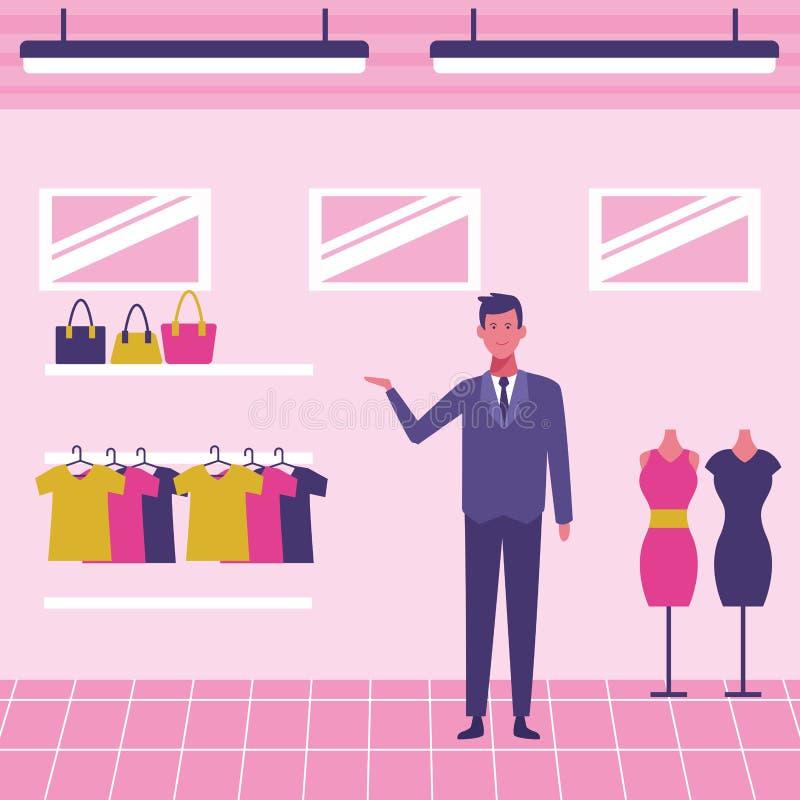 Pessoal da loja de roupa ilustração do vetor