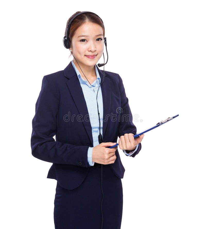 Pessoal de serviços ao cliente com prancheta imagens de stock