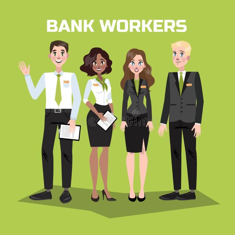 Pessoal do banco no terno Mulheres e homens ilustração stock